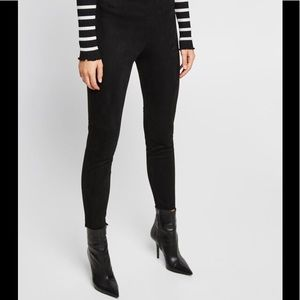 Zara Basic Denim Black Faux Suede Skinny Pants